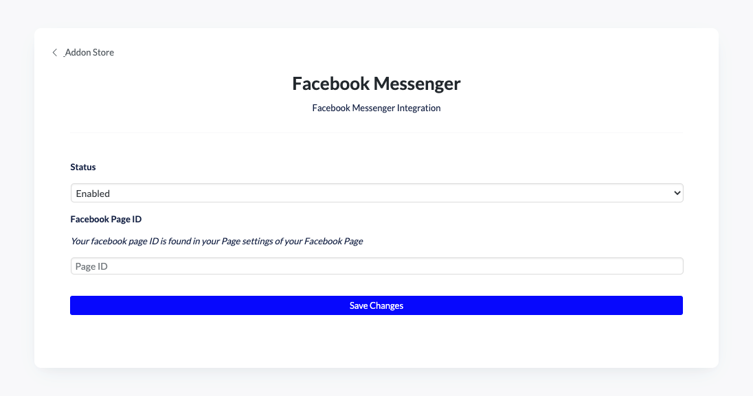 Screenshot of The Church Co Facebook Messenger Integration Configuration