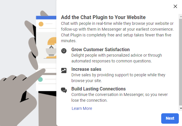 Screenshot of Facebook Chat plugin Benefits