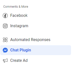 Screenshot of Facebook Business Manager Messenger Menu
