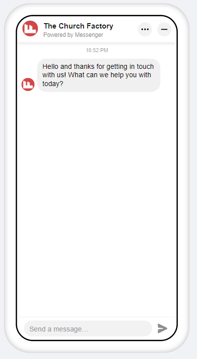 Screenshot of Preview of what welcome messages look like on a mobile device.