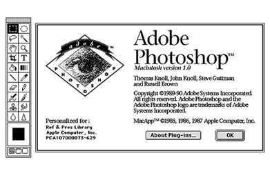 Screenshot of the user interface of the first version of Adobe Photoshop.