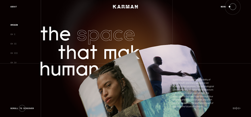 """A screenshot of the webpage https://media.karmanproject.org/ that features text saying """"the space that makes us human"""" with a circular interactive 3d illustration."""
